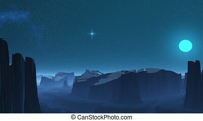 Cold planet. - High plateaus are covered with snow. In the...