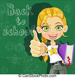 Cute girl ready to learn - Banner - Back to school - cute...