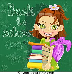 Cute girl with books at the board - Banner - Back to school...
