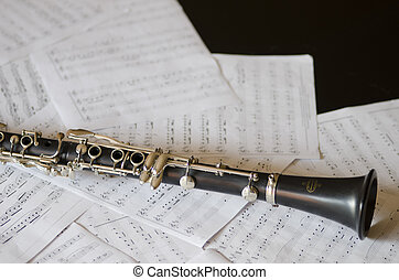 Clarinet on music sheets