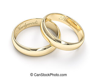 Newlyweds - A gold ring lying on another one with the text...