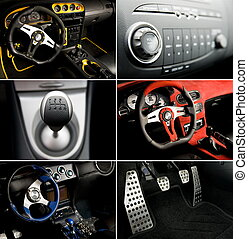 Sport car interior collage