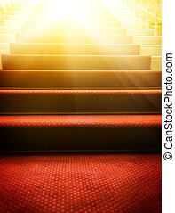Escaleras, cubierto, rojo, alfombra