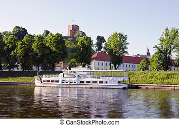 Gediminas castle and Neris river in Vilnius - Gediminas...