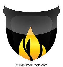 Burning Shield - Glossy black protective shield in flames...