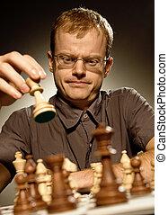Chess master making smart move