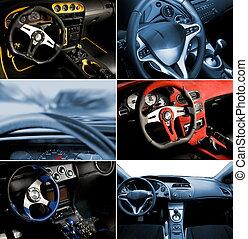 deporte, coche, interior, collage