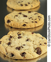 Cookies in a Row - Chocolate chip cookies, warm and gooey...