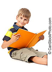 Schoolboy is holding a book on white