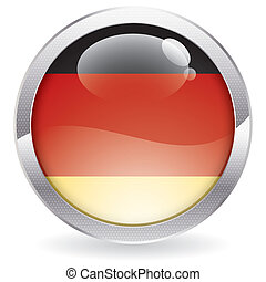 Gloss Button with German Flag - Three Dimensional circle...