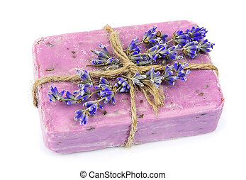 Natural soap and lavender flowers