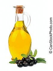A jar with olive oil and some black olives