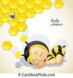 Baby shower card with newborn child dressed as bee.