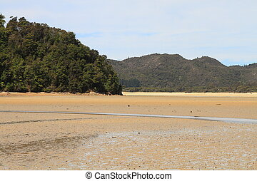Estuary beach and wooded hills of Abel Tasman National Park,...