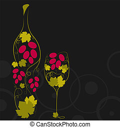 Abstract wine bottle - Abstract picture of wine bottle and...