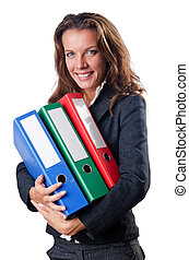 Busineswoman with folders on white