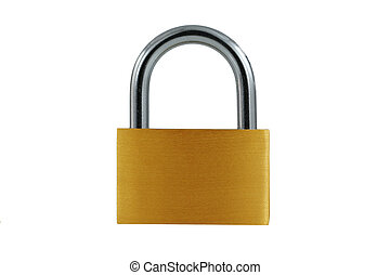 Isolated Brass lock on white