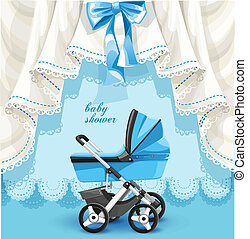 Baby shower card with baby carriage - Blue baby shower card...