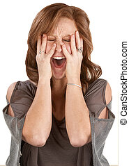 Screaming Lady Covering Her Face - Frantic woman screaming...