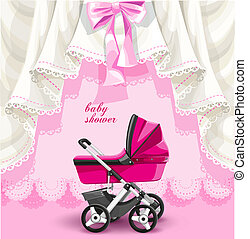 Pink baby shower card with baby carriage.