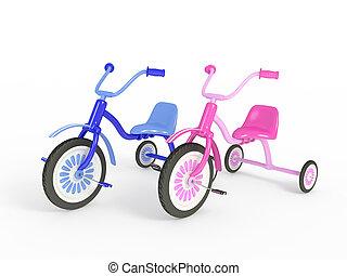 azul, rosa, triciclo, aislado, 3D, render
