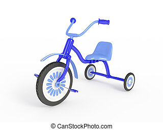 Blue tricycle isolated 3d render - Blue tricycle
