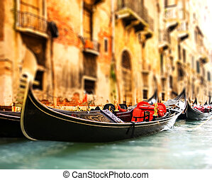 Traditional Venice gandola ride (shallow DoF, focus on...