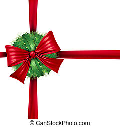 Red Christmas Wrapping Ribbon Decoration