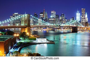 Manhattan Skyline - View of Downtown New York City and...