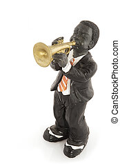 funky jazz - black man is playing jazz at the trumpet