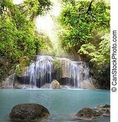 Erawan Waterfall - Second level of Erawan Waterfall in...