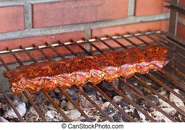 pork ribs on a grill