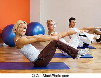 grupo, gente, condición física, ejercicio,...