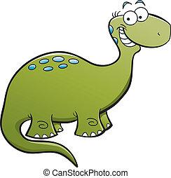 Happy Brontosaurus - Cartoon illustration of a happy...