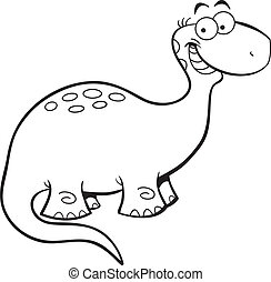 Happy Brontosaurus - Black and white illustration of a happy...