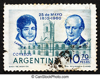 ARGENTINA - CIRCA 1960: a stamp printed in the Argentina shows Juan Larrea, Domingo Matheu and Cabildo, Buenos Aires, 150th Anniversary of the May Revolution, circa 1960