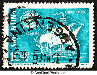 Postage stamp Argentina 1960 Caravel and Emblem - ARGENTINA...