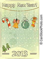 Christmas retro postcard with toys in vintage style with...