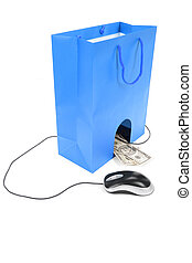 Shopping Bag and computer mouse - Isolated Shopping Bag and...