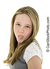 child - Caucasian preteen girl displaying some attitude by...