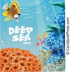 deep blue sea with coral reefs - Banner deep blue sea with...
