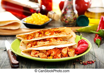 Mexican wheat tortillas with spicy stuffing - Mexican wheat...
