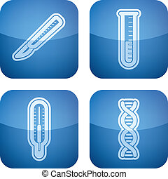 Healthcare - 4 icons in Healthcare 22 degrees blue icons set...