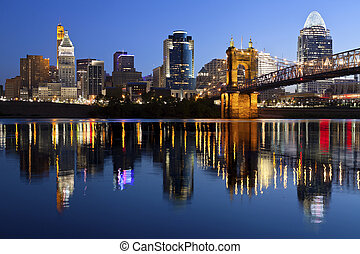 Cincinnati skyline - Image of Cincinnati and John A Roebling...