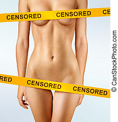 censored - beautiful body of woman covered with censorship...