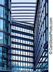 Blue passage 2 - Business building passage all in blue glass...