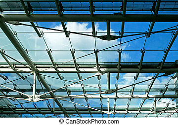 Sunroof - Sun roof with blue sky in business building