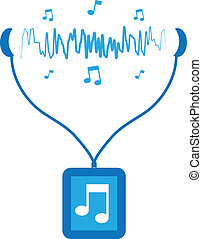Music Player Soundwaves - Blue music player with sound waves...