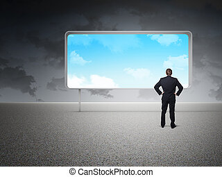 my idea - businessman looking board with blue sky