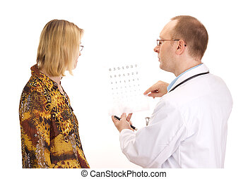 Patient by an ophthalmologist